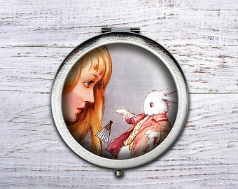 Alice in Wonderland, Compact Mirror, Bridesmaid Gifts Cosmetic Mirror Personalized Gifts for Mom, Birthdays, Ladies, Girls, Women
