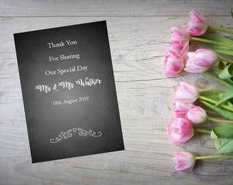 Personalised Wedding Thank You Cards with Matching Envelopes Pack Of 10 TY101