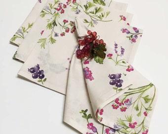 Spring Floral Napkins, French Provence Napkins,
