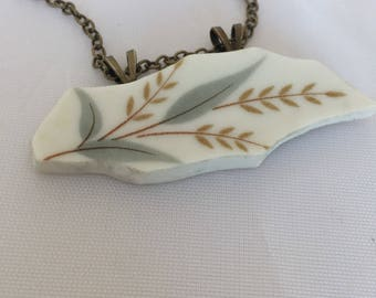 Broken plate pendant/ waving wheat  necklace/ vintage plate repurposed/bar pendant /antique jewelry/recycled materials/repurposed creations/
