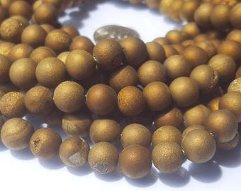 Agate Druzy dark gold round beads Strand. 15.5 Inches long.Jewelry making-Necklace-Bracelet.Semi Precious