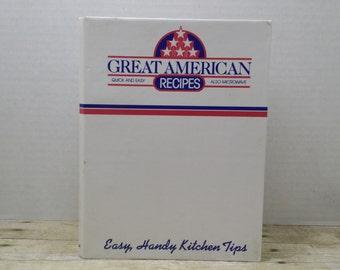 Great American Recipes 2-ring binder, vintage cookbook, 1989