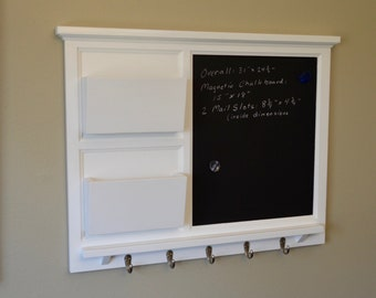 "31"" x 24"" Large MAGNETIC Cork board & 2 Mail slot Organizer letter holder  Key / Coat / Hat hooks - Home Decor- Wall Organizer"