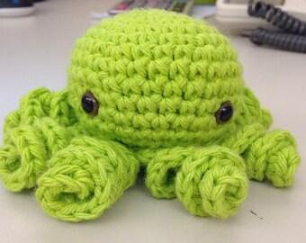 Cute Green Crochet Octopus