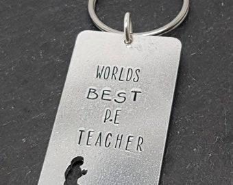 Runner jogger keyring, worlds best P.E teacher. Wording can be customised