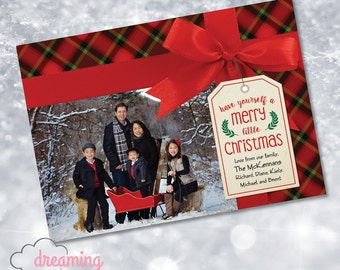 Christmas Holiday Card with Red Bow and Plaid - Family Photo!