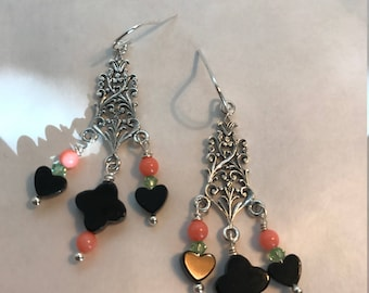 Chandelier Sterling silver earrings with black onyx, salmon coral and green crystals