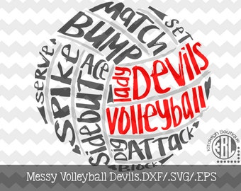 Messy Lady Devils Volleyball design INSTANT DOWNLOAD in dxf/svg/eps for use with programs such as Silhouette Studio and Cricut Design Space