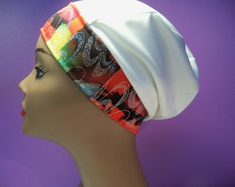 Slouchy cap white multicolor band ,head cover,runners,hat,style,very pretty cap