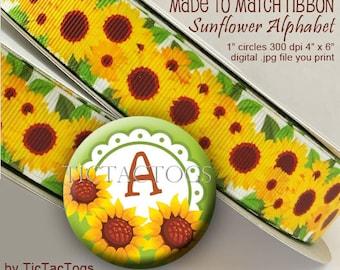 Fall Sunflower Alphabet Bottle Cap Digital Art Collage Set 1 Inch Circle A-Z Digi - Instant Download - BC527
