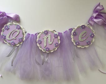 First Birthday Banner - High Chair Lavender and Silver