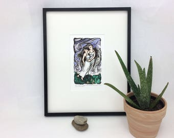 SALE - May I Borrow Your Wing - Hand Pulled Linocut - Linoleum Printmaking - Woman - Spiritual - Wings - Angels - Flying - Inspriational