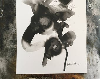 Abstract Art Original Modern Contemporary Painting Black and White Ink