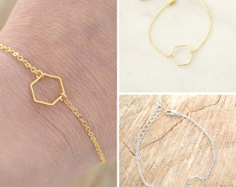 Gold or Silver Hexagon Bracelet - Stacking bracelet - Delicate Charm bracelet - Minimalist and Dainty Bracelet