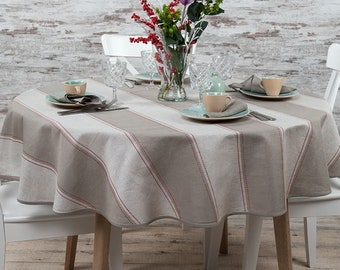 Linen Tablecloth | Table Linens | Table Cover | Linen | Oval Tablecloth | Striped Tablecloth | Grey Tablecloth | Round Tablecloth | Grey