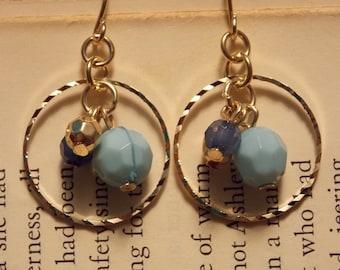 Blue and Gold Beaded Hoop Earrings