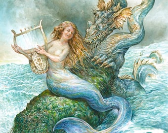 Serenading the Sea Serpent (print) mermaid dragon ocean music