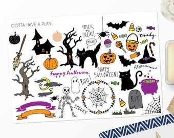 Planner Stickers Hand Drawn Halloween Variety Deco for Erin Condren, Happy Planner, Filofax, Scrapbooking