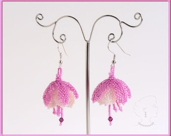 Instant download - Fuchsia Flower Earrings - Beading Pattern - Dimensional Peyote
