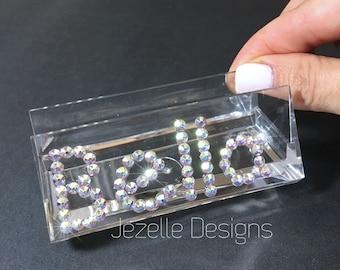 Bling pop sockets swarovski crystal cell phone accessories personalized swarovski business card holder hand jeweled acrylic clear business card holder w swarovski colourmoves
