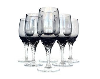 Twisted Stem Smokey Wine Glasses, Cordials, Set of Six