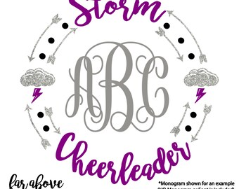 Storm Cheerleader Monogram Wreath Arrows Lightning Cloud (monogram NOT included) SVG, DXF, png, jpg digital cut file for Silhouette Cricut
