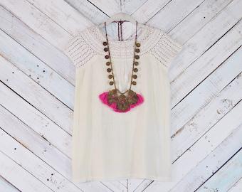 70s Crochet Top | Vintage Boho gauze top | 1970s Deadstock India cotton top | Hippie shirt Indian Gauze top Sheer gauze Bohemian shirt