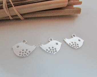 8 charms silver metal birds, bird charm, gold plated 17 x 13, 11x10mm, hole 2 mm