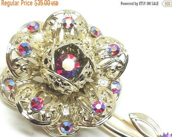 25% OFF SALE Sarah Coventry Fashion Flower Pin with red aurora borealis rhinestones