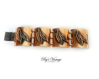 Vintage 50s Copper Leaf Bracelet - Copper Linked Mid Century Bracelet, Modernist Copper Jewelry