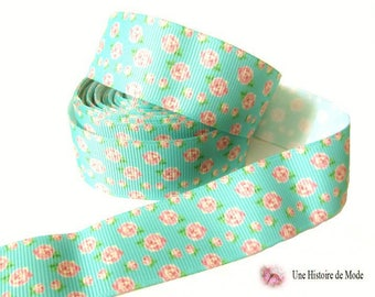 Ribbon grosgrain flowers - 25 mm - sold by the yard - lagoon - flower