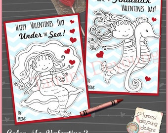 Mermaid Valentine Card for Girls *Coloring Valentine for kids* Printable Valentine for classmates, non-candy treat, personalization extra
