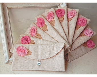 Set of 10 -ONE BAG FREE- Bridesmaid Clutch Purse, burlap Raw shabby Linen, Bridesmaids Gift, Wedding purse clutch Personalize rose MakeUp