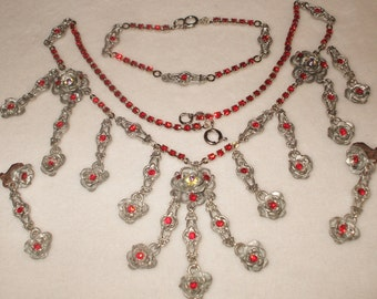 Vintage Rhinestone necklace/bracelet/earring set