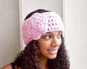 Crochet Headband, Flower Headband, Ear Warmer With Flower, Pink, Women,Teen, Adult,,