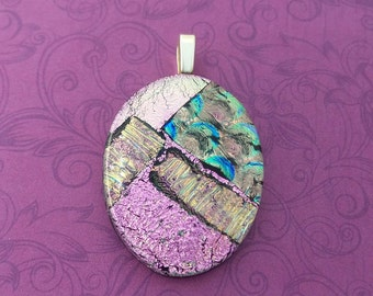 Pink Dichroic Pendant, Handmade, Fused Glass Jewelry, Oval Fused Glass Pendant, One of a Kind Jewelry, Ready to Ship - Passion Awaits - - 4