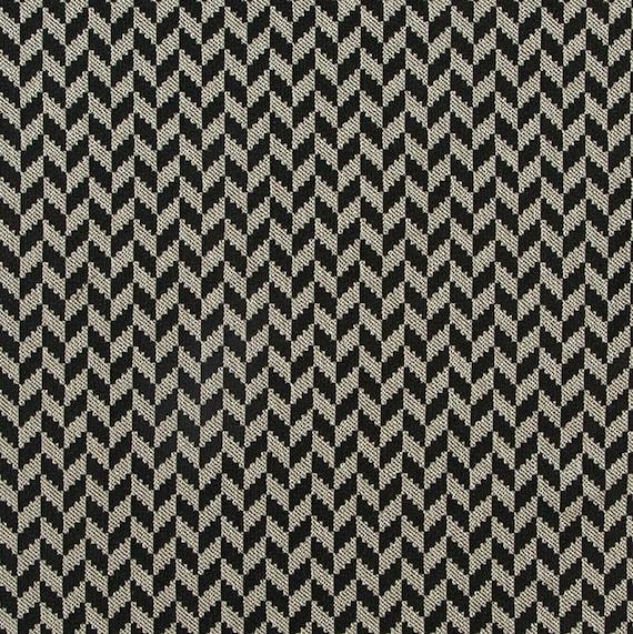 Black Silver Upholstery Fabric Modern ZigZag Chevron Fabric