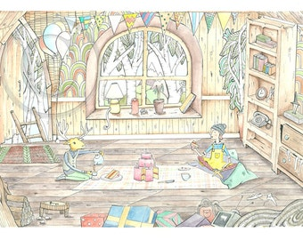 Tree house art print, Treehouse, treehouse art print, gift for her, home sweet home, . A4 Print