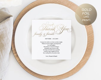 Gold Wedding Thank You Note, Thank You Card, Thank You Letter, In Lieu of Favor Card, Place Setting Card, PDF Template, Instant Download