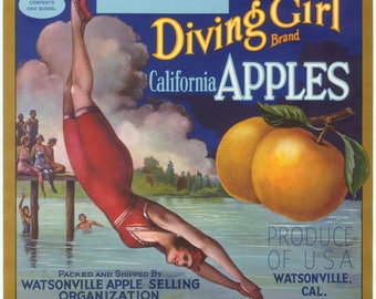 Original vintage apple crate label 1920s Diving Girl Watsonville California swimming hole scarce