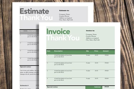 Rechnung Schätzung Druckvorlage editierbare Vorlage