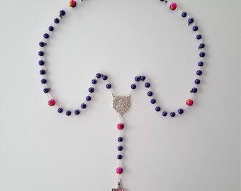 Purple Marian Sunflower Rosary