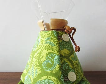 Chemex Cozy for 6, 8, or 10 Cup Pot in Green and Yellow Animal Print, Tula Pink Fabric