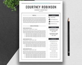 Professional Resume Template, Cover Letter, Word,US Letter, A4, CV Template, Creative, Modern Teacher Resume, Instant Download, COURTNEY