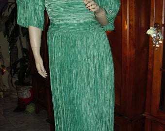 Genuine 80s Mary McFadden fully pleated seafoam maxi gown @ Vintage 50s 60s 70s Boutique