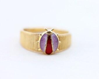 Purple Ladybug Ring, Ladybug Ring, Gold Ladybug Ring, Gold Band Ring, Size 7 Ring