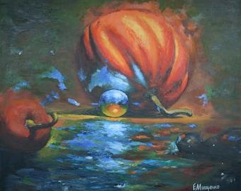 Pumpkins, original oil painting, canvas, 60х70, autumn orange still life artwork
