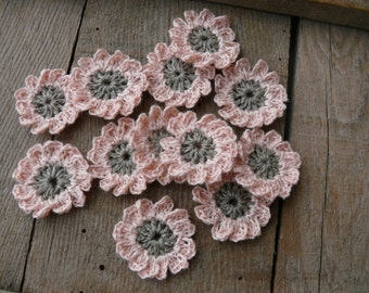 Crochet pink flowers applique, mini crochet motifs,12 Petal embellishments, set of 6 crochet applique, linen flower, Scrapbooking, ornament