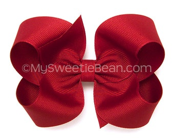 "Red Hair Bow, 4 inch Boutique Bow, Red Hairbow, Basic Hair Bows for Toddlers, Girls, Babies, Classic Red Grosgrain Hair Bow, 4"" Bow"