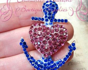 48mm Royal Blue With Pink Heart Rhinestone Anchor Pendant, Nautical Beach Theme, Purse Charm, Planner Charm, Zipper Pull, Chunky Pendant